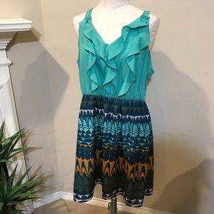 Green Printed sleeveless ruffle front dress XXL